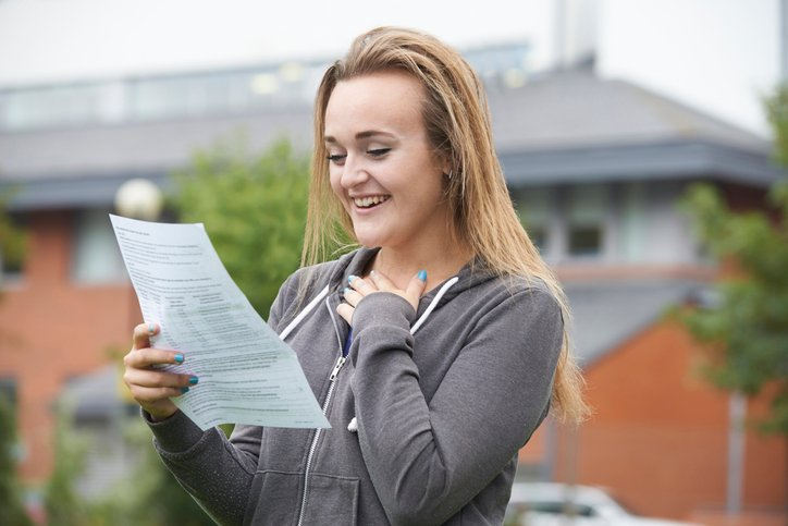 Girl celebrating a-level results