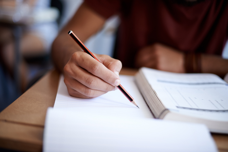 A student sits an exam